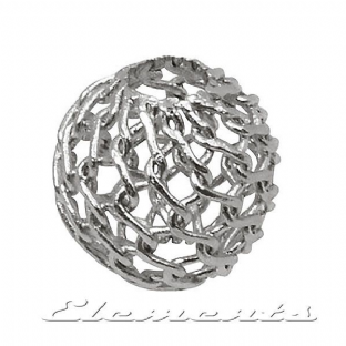 Sterling Silver Round Filigree Knitted Beads With 2 Holes